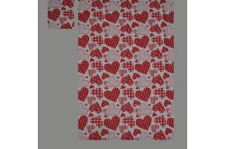 Rød med hjerter (sengesæt op til 70 cm.)