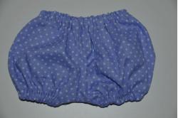 Lilla pludder bukser med hvide prikker